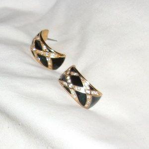 Jewelry - Vintage 80's Pair of Black & Clear Rhinestone Earr